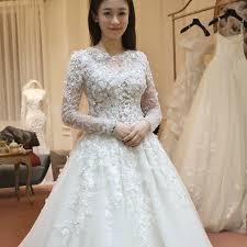 wedding dress korea 2015 new large size korean slim shoulder sleeve lace wedding