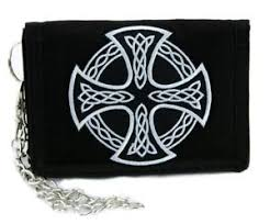 celtic iron cross tri fold wallet w chain sons of anarchy metal
