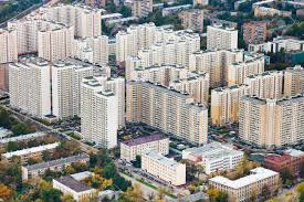 quarter of modern houses in moscow autumn day stock photo picture