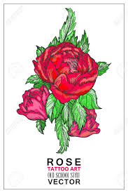 rose colored tattoo old style vector symbol of love