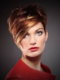 short blonde hair with red highlights women medium haircut