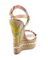 christian louboutin cataclou cork wedge red sole sandal in