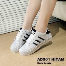 Sepatu Adidas Kets sepatu adidas flat kets putih hitam olshop fashion olshop wanita