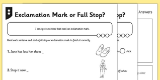 exclamation mark or full stop differentiated activity sheet pack