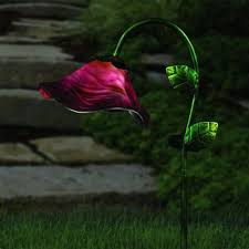 flower solar stake lights set of 3 solar trumpet lily flowers garden path lights flower