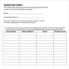 Pledge Sheets For Fundraising Template by Sle Donation Sheet 9 Documents In Pdf Word