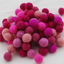 pink color shades 1cm 10mm 100 wool felt balls 100 count assorted pink