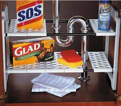 Kitchen Sink Shelf Organizer by Adjustable Shelf Storage For Around Sink Cabinet Plumbing