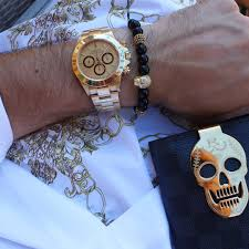gold skull bracelet men images Gold skull black agate men 39 s macrame beaded bracelet ephori jpg