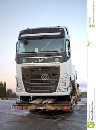 volvo truck trailer new volvo fh trucks transported on a semi trailer editorial stock