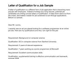 Qualification Examples For Resume by Letter Of Qualification