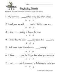 13 best images of initial blends worksheets 1st grade beginning