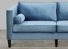 Teal Color Sofa by Blue Velvet Sofa With Nailheads