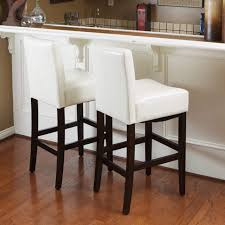 bar stools wood and leather lopez 30 inch ivory wood leather bar stools set of 2 by