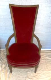 tall back walnut u0026 red velvet original upholstered arm chair side