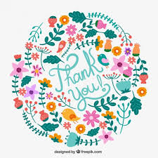 floral thank you card vector free