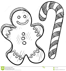 gingerbread man and candy cane drawing stock photo image 22416980