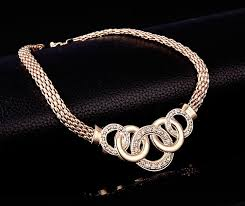gold ring necklace images Gold jewelry set austrian crystal necklace earrings bracelet jpg