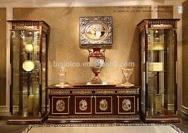 Antique Brass Display Cabinet Luxury French Baroque Style Mahogany Single Door Display Cabinet