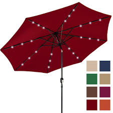 Patio Umbrella With Solar Led Lights by 10ft Deluxe Solar Led Lighted Patio Umbrella With Tilt Adjustment