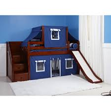 maxtrix delicious low loft playhouse w slide blue white on