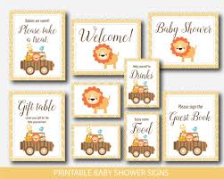 jungle baby shower table signs safari animals baby shower