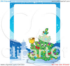 clipart of a cartoon christmas tree character ringing a bell in a