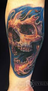 mike devries tattoos color skull