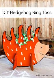 mollymoocrafts cardboard hedgehog ring toss game diy
