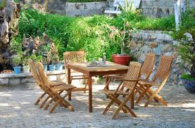 graceful small patio furniture set of vintage wood outdoor chairs