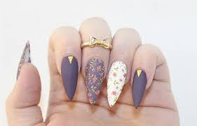try this chic matte dark floral acrylic nails perfect for any season