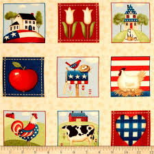 1 panel fabric from the heartland american patriotic white