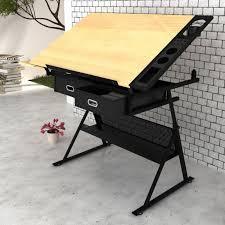 Drafting Table Melbourne Tilt Art Drawing Drafting Table W 2 Drawers U0026 Stool Buy Drafting