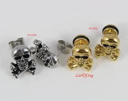 skull stud earrings skull earrings etsy