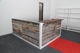 wood l reception desk from reclaimed wood l shape reception station made