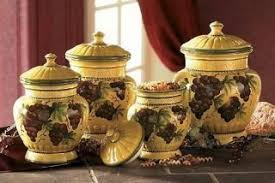 tuscan kitchen canisters sets 156875592 painted 4pc tuscany grapes canister set ceramic jar