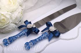wedding cake knife cake server set navy blue painted cake servers and knives