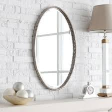 Illuminated Bathroom Wall Mirror - oval bathroom wall mirror frames hang on white brick wall also