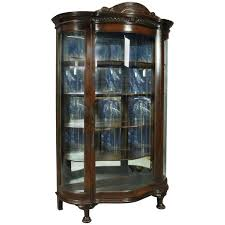 curved glass china cabinet antique horner bros oak figural mirror back curved glass china