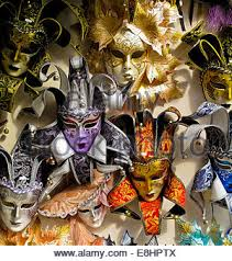 carnival masks for sale carnival masks for sale in a shop window in venice italy stock