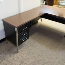 Office Desk Used Used Left Metal L Shaped Office Desk Black Mahogany Del1536
