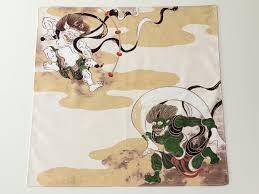 japanese wrapping method furoshiki wrapping fabric fujin raijin japanese green tea