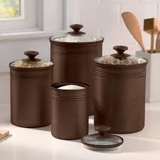 metal canisters kitchen and gardens bronze finished metal canisters with glass lids set the