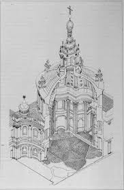 p kent fairbanks architect photographer historical italian baroque architecture borromini axonometric drawing of sant ivo alla sapienza 1642