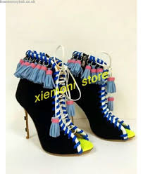 womens ankle boots uk size 9 womens tassel leather ankle boots open toe