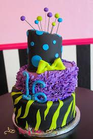 birthday cake 3 tier ruffles zebra print circles purple green
