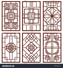 traditional korean door window ornament chinese stock vector
