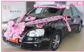 wholesale low price pink flower decorations on the car