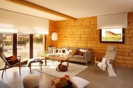 appealing cabin interior with wood wall ideas and unique furniture