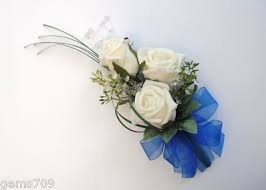 wedding flowers royal blue flowers corsage in ivory and royal blue